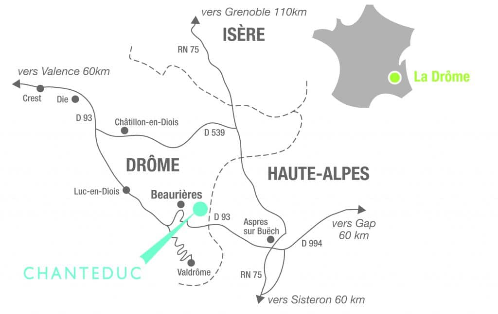 carte-beaurieres Chanteduc drome camping